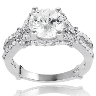 New! Tressa High-Polish Sterling-Silver Cubic Zirconia Bridal- and Engagement-Style Ring