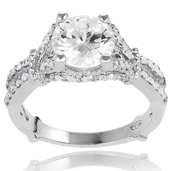 Journee Collection Sterling Silver Cubic Zirconia Bridal- and Engagement-style Ring