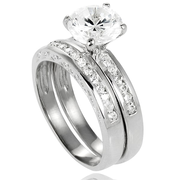 Journee Collection Sterling Silver Cubic Zirconia Bridal and Engagement Style Rings