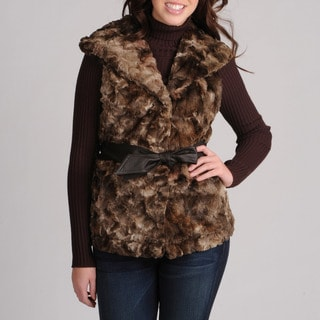Mo-Ka Women's Brown Faux Fur Vest
