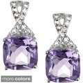 Tressa Sterling Silver Gemstone and Cubic Zirconia Square Earrings