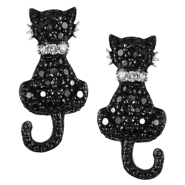 Tressa Sterling Silver Cubic Zirconia Cat Earrings