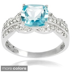 Journee Collection Sterling Silver Gemstone and CZ Bridal-style Ring