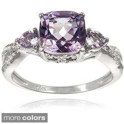 Tressa Sterling Silver Gemstone and CZ Bridal-style Ring