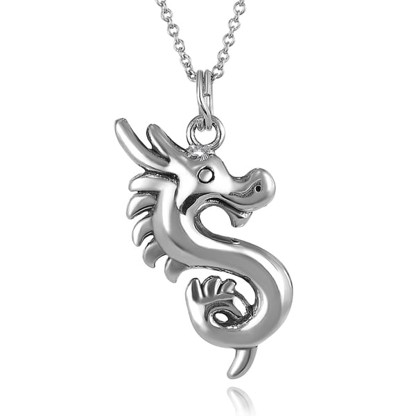 Journee Collection Sterling Silver Dragon Necklace