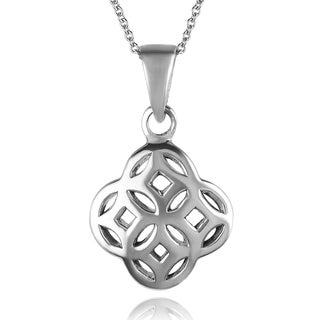 Journee Collection  Sterling Silver Celtic Unity Knot Necklace