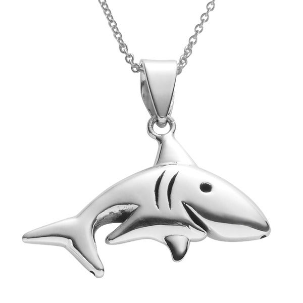 Journee Collection Sterling Silver Shark Necklace