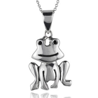 Journee Collection Sterling Silver Frog Necklace