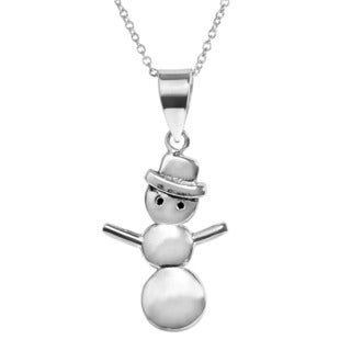 Journee Collection Sterling Silver Snowman Necklace