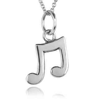 Journee Collection Sterling Silver Musical Note Necklace