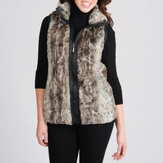 Mo-Ka Women's Stone Faux Fur and Leather Vest