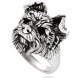 Journee Collection  Sterling Silver Dog Face Ring