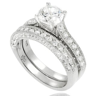 Tressa Sterling Silver Cubic Zirconia Round Bridal Ring