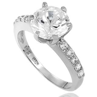 New! Tressa Sterling-Silver Pave-Set Cubic Zirconia Bridal- and Engagement-Style Ring