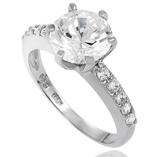 Journee Collection New! Sterling-Silver Pave-Set Cubic Zirconia Bridal- and Engagement-Style Ring