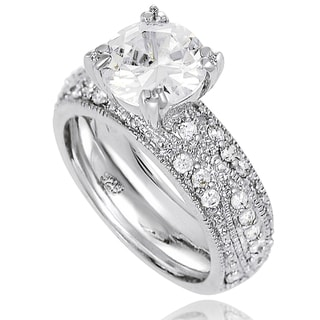 New! Tressa Sterling-Silver Round-Cut Cubic Zirconia Bridal- and Engagement-Style Ring