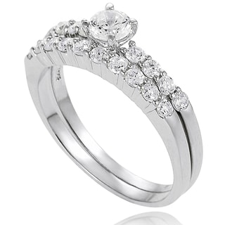 Journee Collection New!  Sterling Silver Cubic Zirconia Bridal- Style  Rings