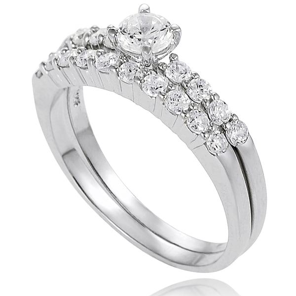 Journee Collection Sterling Silver Cubic Zirconia Bridal-style Rings