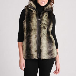 Mo-Ka Women's Chinchilla Faux Fur-front Vest