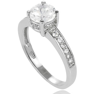 New! Tressa Sterling-Silver One-Prong Cubic Zirconia Bridal- and Engagement-Style Ring