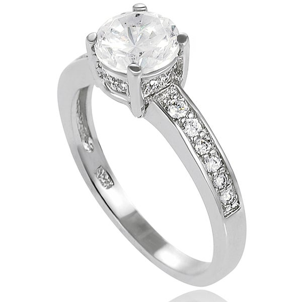 Journee Collection New! Sterling-Silver One-Prong Cubic Zirconia Bridal- and Engagement-Style Ring