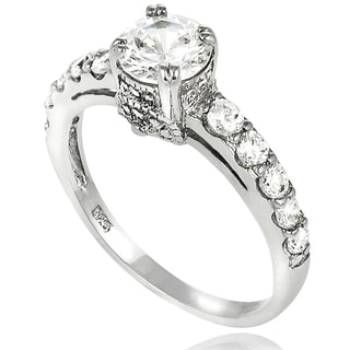 New! Tressa Sterling-Silver Round Cubic Zirconia Bridal- and Engagement-Style Ring