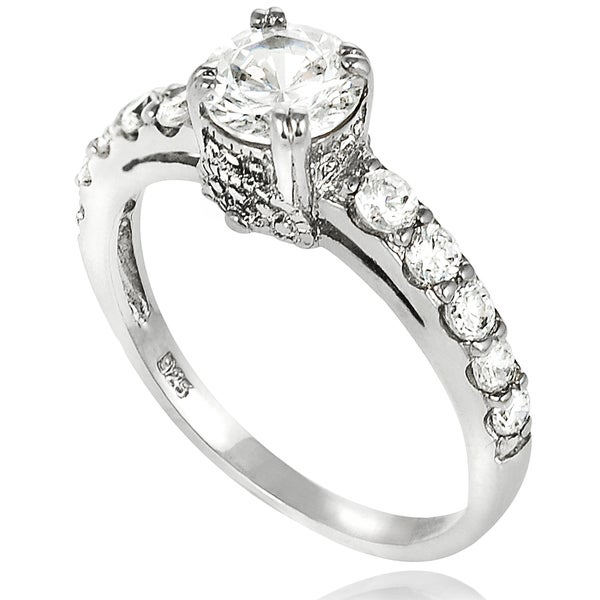Journee Collection Sterling Silver Round-cut Cubic Zirconia Bridal- and Engagement-style Ring