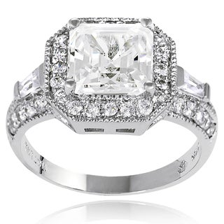 New! Tressa Sterling-Silver Single Prong-Set Cubic Zirconia Bridal- and Engagement-Style Ring
