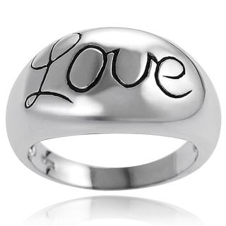 Tressa Sterling Silver Domed Love Ring