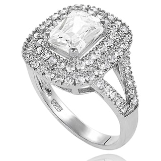 New! Tressa Sterling-Silver Cubic Zirconia Bridal- and Engagement-Style Ring with Split-Tapered Band