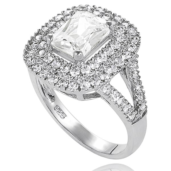 Journee Collection Sterling Silver Cubic Zirconia Bridal- and Engagement-style Ring with Split-Tapered Band