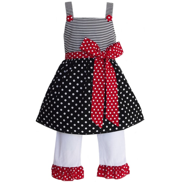 AnnLoren Girls Polka Dots & Stripes Outfit