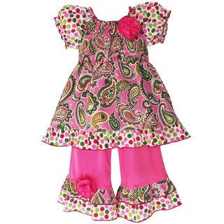 AnnLoren Girls Smocked Paisley & Polka Dot Outfit