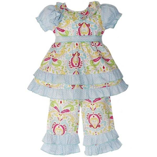 AnnLoren Girls Shabby Floral Outfit