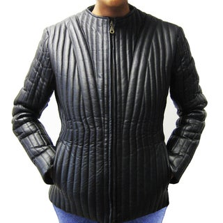 Tanners Avenue Women's Black Napa Leather Quilted Jacket with Removable Lining