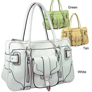 Dasein Front Pocket Soft Faux Leather Tote Bag