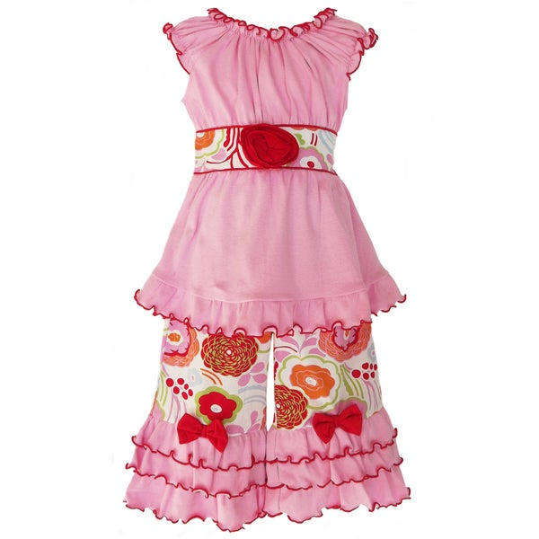 AnnLoren Girls Fabulous Floral Outfit