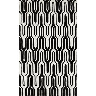 Black/White Hand-tufted Asse Caviar Geometric Rug (8' x 11')