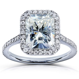 Annello 14k Gold Radiant-cut Moissanite and 1/4ct TDW Diamond Engagement Ring (G-H, I1-I2)