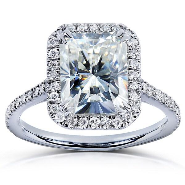 Annello 14k Gold Radiant-cut Moissanite and 1/4ct TDW Diamond Engagement Ring (G-H, I1-I2)