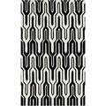 Hand-tufted Asse Black/White Geometric Area Rug (3'6 x 5'6)