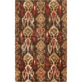 Hand-tufted Sable Golden Brown Ikat Wool Rug (8' x 11')