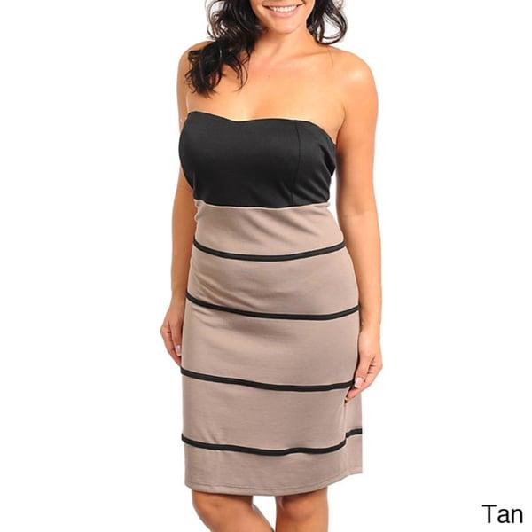 Stanzino Women's Strapless Plus Size Banded Color Block Dress