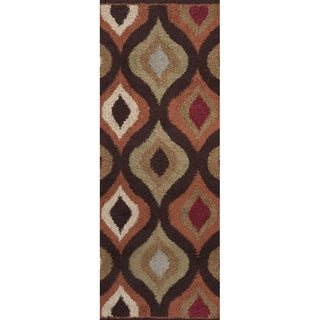 Marsala Chocolate Brown Geometric Plush Shag Rug (2'7 x 7'3)