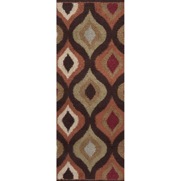 Marsala Chocolate Brown Geometric Plush Shag Rug (2'7 x 7'3)