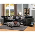 Bacardi 4-piece Black Bicast Leather and Fabric Oversized Sectional and Ottoman