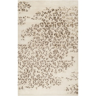 "Hand-tufted Tan Leopard Samuri Animal Print Wool Rug (3'3"" x 5'3"")"