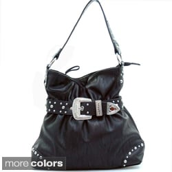 Dasein Women's Belted Rhinestone Embellished Hobo Bag