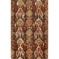 Hand-tufted Sable Golden Brown Ikat Wool Rug (2' x 3')