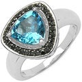 Malaika Sterling Silver Blue Topaz 8/47ct TDW Black Diamond Ring (I2-I3)